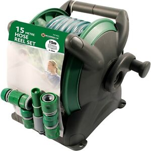 15M GARDEN HOSE PIPE & COMPACT WALL REEL FITTINGS SET STANDING WALL MOUNTED NEW