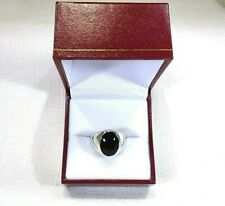 Men's Created Black Onyx Inlay Solid Sterling Silver Dome Ring- size 10 1/4