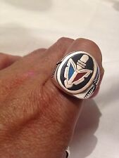 1980's Vintage Silver Size 9 Men's Genuine Turquoise Stone Inlay Tomahawk Ring