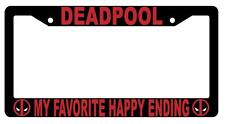 Black Deadpool My Favorite Happy Ending License Plate Frame Auto Accessory