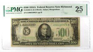 1934-A $500 Federal Reserve Note FRN FR-2202 E Bill - Certified PMG VF 25