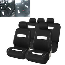 5-Seats Polyester Car Front and Rear Seat Covers Protector Cushion Black+White