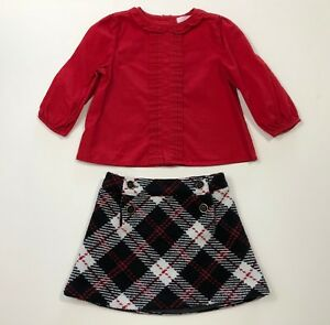 JANIE AND JACK Leopard Chic Plaid Skirt & Red Top Set Outfit Size 6-12 Months