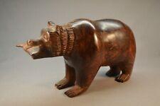 "Large Heavy 5 1/2 lbs Native Zuni Ironwood Bear w/ Fish Sculpture 11"" x 6 1/4"""