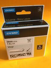 """DYMO Industrial Rhino Labels, Black on White Vinyl 1"""" 24mm (1805430) NIB"""