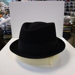 BORSALINO BLACK TRILBY FUR FELT FEDORA DRESS HAT