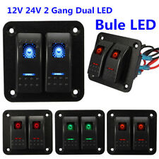 12V 24V 2 Gang Dual LED Light Bar Car Caravan Marine Boat Rv Rocker Switch Panel