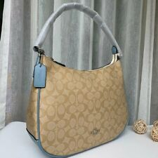 Coach F29209 Zip Shoulder Bag Signature Coated Canvas Light Brown Blue