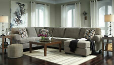 NEW Large Sectional Living Room Gray Corduroy Fabric Sofa Couch Chaise Set IG2Z