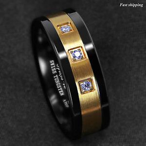 8mm Black Tungsten Ring Brushed 18K Gold Diamonds ATOP-LUXURY Men's Wedding Band