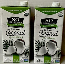 2pack So Delicious Dairy Free Organic Coconut Milk Beverage Unsweetened 32oz NEW
