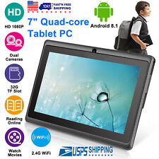 """7"""" inch Android 8.1 Quad-Core Tablet PC 8GB HD Dual Camera WiFi Gift for Kids US"""