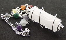 Rare Selenite Chakra Double Terminated Point Gemstone Crystal Pendulum
