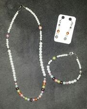 Hand made Set of Necklace, Bracelet and earrings with Glass Pearls