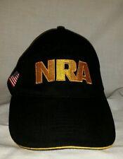 New listing Sharp Gold Embroidered Nra Logo Usa Flag Black Sports Cap Hat Back Strap