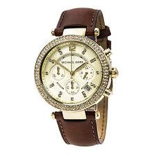 Michael Kors MK2249 Women's Gold Dial Brown Strap Chrono Watch