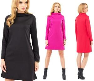 Mini Dress a-Line Dress Tunic with Collar Size 36 38 40 42, IN 4 Colors, M137