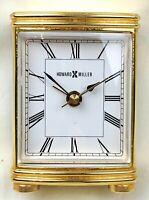 Vtg Howard Miller brass metal mini small travel desktop bookshelf alarm clock