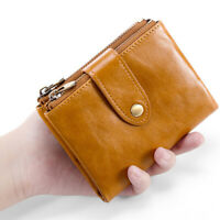 RFID Blocking Genuine Leather Men's Bifold Wallet Credit Card Holder Coin Purse