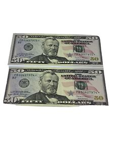 Lot Of Two 50 dollar bills star notes Consecutive Serial Numbers 2017 A