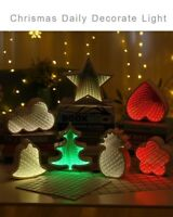 Mirror Neon LED Night Light Christmas Tree Battery Power Lamp Home Decoration