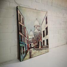 Vintage Mid Century Maurice Utrillo Print Sacre Coeur Paris Street Scene