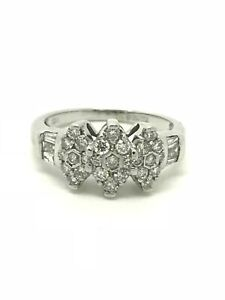 0.75ct Diamond Marquise Cluster Ring - 18ct White Gold - Size N - 4.20g