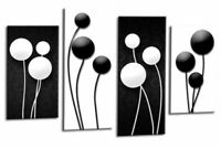 Abstract Floral Wall Art Black White Grey Flower Print 4 Panel Canvas Picture