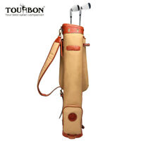 TOURBON Waterproof Canvas Golf Bag Course Training Golf Clubs Carry Sunday Bag