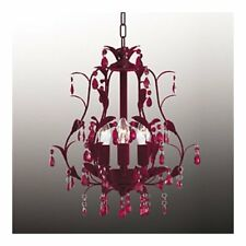 French Plum Red Flock & Glass Chandelier Ceiling Light