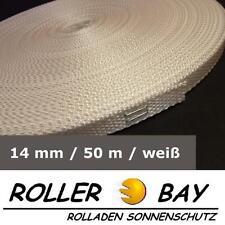 50 m Mini Rolladen Gurt weiß 14 mm Rolladengurt Gurtband Rollladen