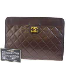 Authentic CHANEL CC Logos Quilted Clutch Hand Bag Leather Brown Vintage 85L282