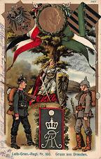 Regimentpostkarte Leib Grenadier Regiment 100 Dresden geprägt 1915