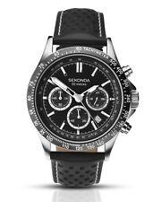 Sekonda Mens Chronograph & Tachymeter Sports Watch Black Leather Strap 1227