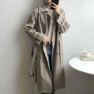 Womens Belt Double Breasted Overcoat Trench Outwear Lapel Collar Loose Casual OL