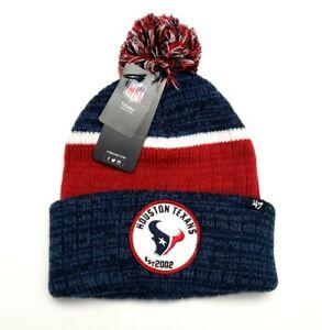 Houston Texans NFL '47 Brand Holcomb Cuffed Pom Knit Beanie Cap Blue/Red OSFM