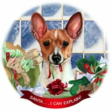 Red and White Toy Fox Terrier Dog Porcelain Ornament 'Santa. I Can Explain!'
