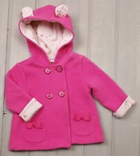 Baby Girls TED BAKER Pink Quilted/Bunny Print Hooded Coat Jacket 6-9 Months GUC