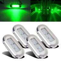 4pcs 12V Green LED Courtesy Light Mount Yacht Marine Boat Cabin Deck Stair Lamp