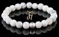 Howlith 925er sterling Silber Armband Bracelet Perlenarmband weiß 8mm