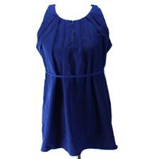 Motherhood Maternity Top Womens Sz S Blue Sleeveless Pleated Neckline Polyester
