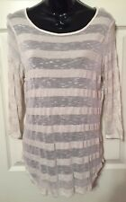 Leo & Nicole Oatmeal Beige Striped 3/4 Sleeve Pullover Thin Knit Top Size S