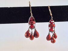 DANA KELLIN Dark Carnelian dangle drop earrings, sterling silver wire wrap
