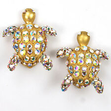 Bellini by Formart Gold and Aurora Borealis Turtles Clip Earrings