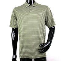 NIKE Performance Mens Medium Olive Green Striped Short Sleeve Golf Polo Shirt