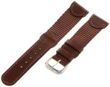 19mm All Brown Nylon Leather Swiss Army Style Watch Band Fits 24220 24221 & 2437