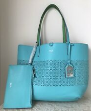 NWT RALPH LAUREN Littlebury REVERSIBLE faux LEATHER tote BAG PURSE blue green