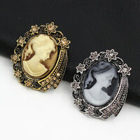 Betsey Johnson Vintage Lady Queen Cameo Crystal Charm Women's Brooch Pin