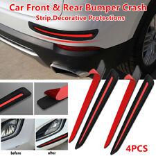 4X Car Front&Rear Bumper Carbon fiber Black Crash Strip Decorate Protection Firm