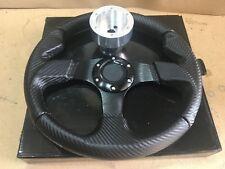 Steering Wheel Kit Carbon Flat BK +Silver Hub Polaris RZR 800/900/1000 Can-Am X3